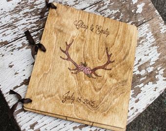 Custom Wedding Guest Book - Floral Antlers