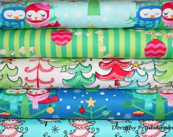 BUNDLE CHRISTMAS All The Trimmings Bundle Set of 5 different Fabrics
