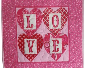 Love Valentine Quilted Wall Hanging or Table Topper