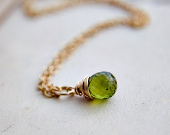 Peridot Necklace, Wire Wrapped, Peridot Pendant, August Birthstone, Gold Necklace, Lime Green, Bright Green, 14K gold filled, polestar