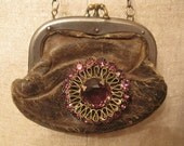 Vintage leather coin purse with amethyst brooch necklace