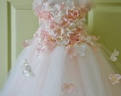 Gorgeous Flower Girl Dress, Photo Prop, Flower Girl Tutu Dress, Blush Pink and Ivory, Flower Top, Tutu Dress, Scascading Flowers