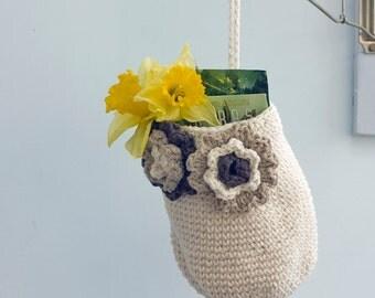 Crochet Hanging Basket, Cotton Door Knob Basket,  Flower Hanging Basket, Cream Brown Decor, Storage Basket