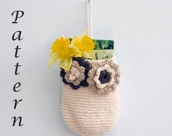 Hanging Basket Crochet Pattern PDF, Digital Download,  Door Knob Basket, Storage Basket Pattern, Crochet Basket Pattern