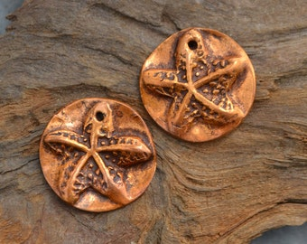 Handmade Copper Starfish Discs (1 pair) Metal Clay