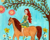 Horse Painting - Horse Art - Horse Illustration - Girl and Horse Print - Children Decor - Nursery Art - Nursery Wall Art - Nursery Decor