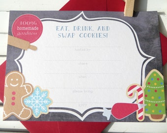 chalkboard cookie exchange party invitation, Christmas cookie exchange party, cookie swap party, set of 10 fill-in invitations on SALE