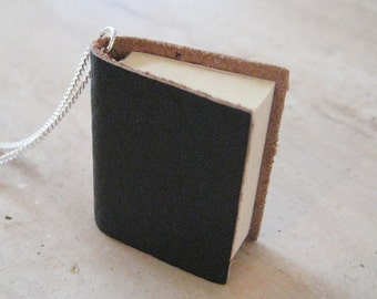 Leather Book Necklace, Writer Necklace, Author gifts, Diary Necklace, Teacher Jewelry