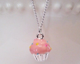 Food Jewelry, Pink Cupcake Necklace -  Birthday Necklace
