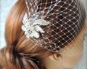 Birdcage veil with Crystal Wedding comb, Bridal Headpiece, rhinestone bridal Hair comb( 2 Items)