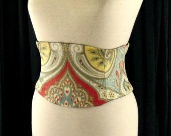 Corset Belt: Obi Waist Cincher Blue and Red Any Size