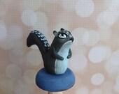 Gray squirrel, mushroom, woodland animal, fairy garden accessories, one of a kind, ooak, eggspressions, gift, paper clay, fairy garden