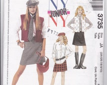 OOP New 2002 McCall's Ny Ny Junior pattern 3735 Lined Vest, Shirt, Skirt , Hat and Tie for sizes 3/4-5/6-7/8- 9/10