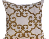 """Gold Pillow Cases, 16""""x16"""" Cotton Linen Pillows Covers For Couch, Square  Beaded Damask Turkish Pattern Pillows Cover - Gold Encrusted"""