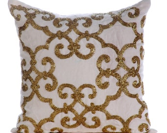 "Gold Pillow Cases, 16""x16"" Cotton Linen Pillows Covers For Couch, Square  Beaded Damask Turkish Pattern Pillows Cover - Gold Encrusted"