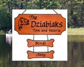 Custom Carved Fisherman Family Name Sign with 2 addons - Trout Graphic - Redwood