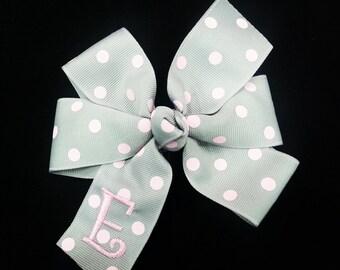 Polka Dot Hair Bow -  Monogrammed Hair Bow - Personalized Hair Bow -  Monogrammed Gift - Personalized Gift -  Initial Bow - Groovy Gurlz