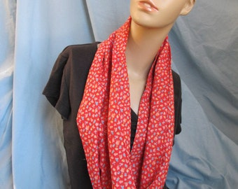 SALE - Red Floral Cowl/Circle Scarf/Infinity Scarf (4451)