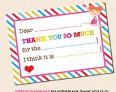 Girls Gymnastics (Red Hair) Fill-in-the-Blank Thank You Note - INSTANT DOWNLOAD - Printable PDF File