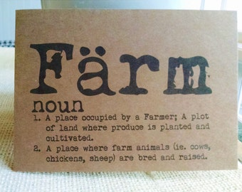 FARM Dictionary Definition Notecards, Rustic Farm Cards, Set of 10