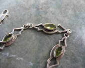 RESERVED - Viintage Peridot and Sterling Silver Bracelet