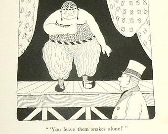 You Leave Them Snakes Alone DR DOLITTLE illustration . Vintage Childrens Book Illustration 1920s . Hugh Lofting illustration