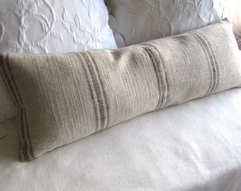 FRENCH LAUNDRY 12x36 long Pillow Cover in BROWN Stripes