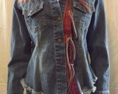 SUMMER SALE Denim Jacket Southwest Boho Chic Altered Upcycled with Silk Embroidery and Appliques One Size Fits S - XL