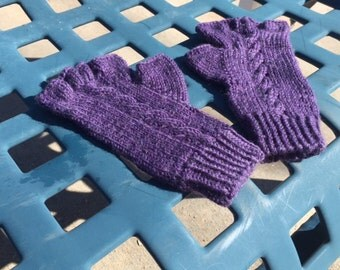 Fingerless Gloves,  washable wool, purple