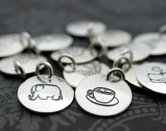 Custom Design Sterling Silver Charm - Handstamped Disc Charm - EWD Extras and Add Ons