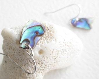 Abalone Shell Earrings, Natural Paua Seashells, Blue & Green Beach Wedding Jewelry