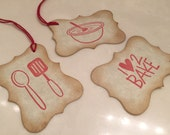 Food Gift Tags, Primitive, Gift Wrap, Country Chic, Holiday Cooking, Set of 9, Treat Bag Tags, Edible Gift Ideas