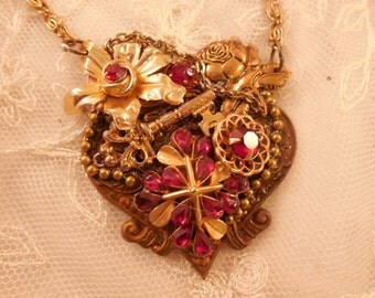 ON SALE Ruby Red  HEART  Pendant