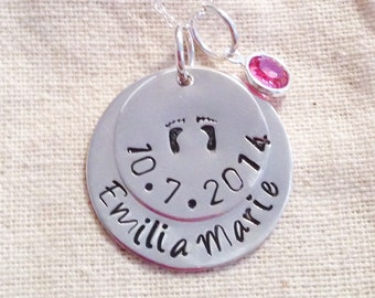 Baby Footprint Mother's Hand Stamped Necklace, Personalized, Birthdate and Swarovski Birthstone-Sterling Silver discs