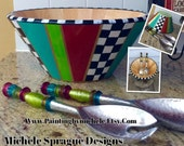 Hand Painted Wooden Salad Bowl with Matching Utensils .  Decorative bowl