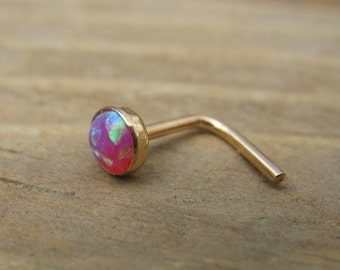 Nose or Tragus Stud 09 Opal Gemstone in Gold - Opal Nose Stud, Opal Tragus Stud, Gold Nose Stud, 4mm Nose Stud, Pink Tragus Stud, Tragus