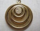 Modern Gold Rhinestone Necklace Mesh Screen Clear Pendant