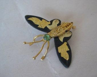 Butterfly Damascene Brooch Gold Black Rhinestone Green Enamel Vintage Pin