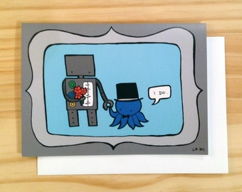 Robot and Octopus Wedding Greeting Card