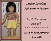 PDF crochet pattern 1.1 - 2-piece dress, or top and skirt, Mary Jane style shoes - outfit fits American Girl or other 18 inch doll