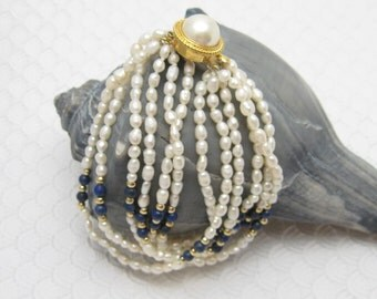 Lapis Bracelet Freshwater Pearl Silver Vintage Jewelry B4114