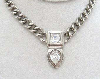 Swarovski Necklace Heavy Chain Vintage Jewelry N6220