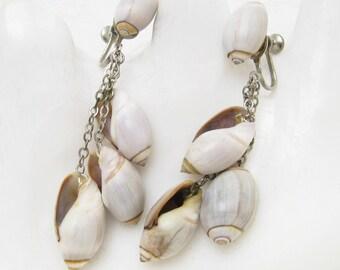 Dangly Shell Earrings Vintage Jewelry Summer E6452