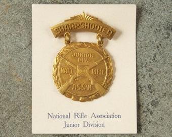 Vintage NRA Junior Sharpshooter Badge on Original Card