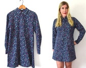 20 DOLLAR SUPER SALE! 90s Babydoll dress - Blue Floral Dress - 90s Dress - Navy Blue Dress