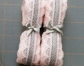 LAST CHANCE ~ Light Grey Burlap Ribbon with Baby Pink Lace