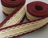 BURGUNDY / WINE and IVORY Burlap and Lace Ribbon