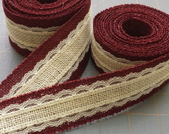 BURGUNDY and IVORY Burlap and Lace Ribbon