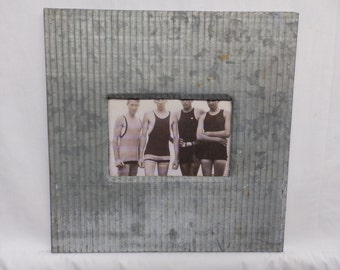 AUTHENTIC Industrial Tin Ceiling 4x6 Grey Picture Frame RECLAIMED Photo S2404-15