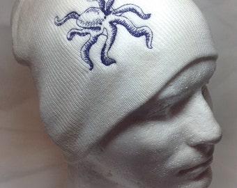 Purple Tentacles Octopus on White Hat Beanie Skullcap Cosplay Ocean Creature